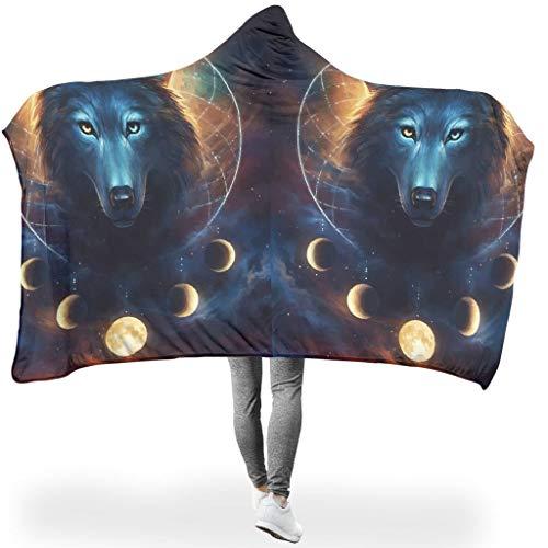 O1FHW-8 Tragbare Decke Riese Mit Kapuze Decke Wolf Animal Themen Drucken Decke Mit Ärmeln Und Kapuze Super Warm Hut Decke - Geeignet für Mädchen Verwenden White 130x150cm