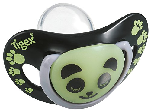 Tigex Smart - Pack de 2 chupetes de silicona con tetina fisiológica, de noche, para bebé de más de 6 meses