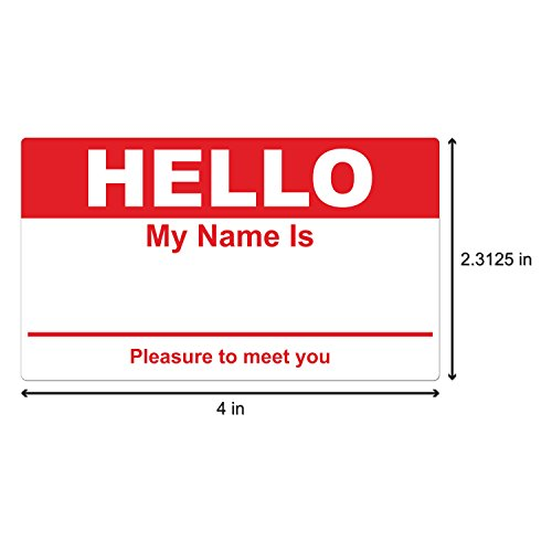 """Hello My Name is Stickers Labels Nametags Visitor Sticker Badges Write on Adhesive Color Simple Basic Blank [Red] -2-5/16"""" x 4"""" Inch 100 Stickers Labels per Roll Photo #2"""