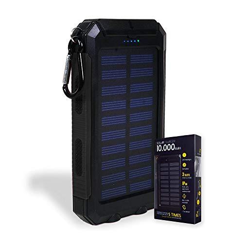Mikamax - Solar powerbank - 10.000 mAh - Solar oplader mobiele telefoon - Outdoor - externe oplader - Waterdicht - met LED-licht - karabijnhaak en kompas