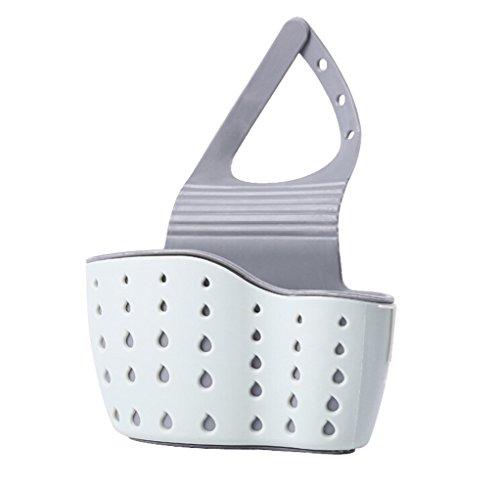 esta de desagüe del fregadero, Esponja caja de almacenamiento en rack Cesta de paño de la colada jabón de tocador Plataforma Organizador Cocina Baño Gadgets fregadero Estanterías Bolsa (Azul claro)