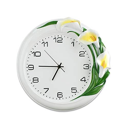 BGHYU Relojes de Pared Reloj de Pared de Resina Redonda de Lirio Blanco silencioso, silencioso, Sala de Estar, Cocina, Dormitorio, Arte, Reloj Colgante, Reloj (Color : White, tamaño : 16 Inches)