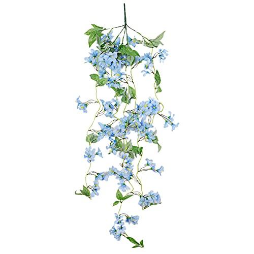 CJFael 1 cesta artificial para colgar en la pared, diseño de flores artificiales para decoración del hogar, ideal para decoración de bodas, fiestas, color azul