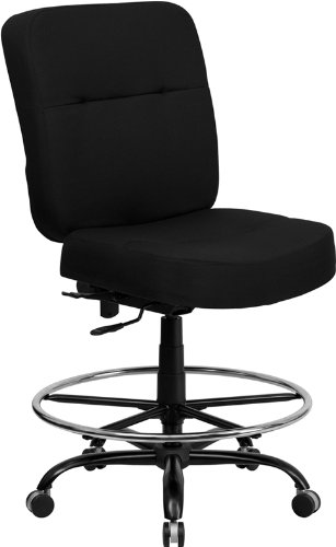 StarSun Depot Hercules Series Big & Tall 400 lb. Rated Black Fabric Drafting Chair with Rectangular Back 28.5' W x 30.5' D x 44.5' - 51' H
