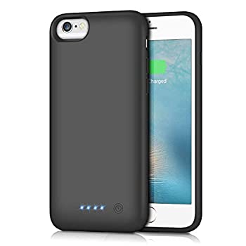Battery Case for iPhone 6S / 6 Gixvdcu 6000mAh Rechargeable Protective Portable Charging Case for Apple iPhone 6 & 6S  4.7 Inch  Extended Charger Pack Power Bank - Black