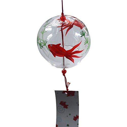 Vent Bell japonais Carillon éolien en verre fait main vent chimes- (poisson)