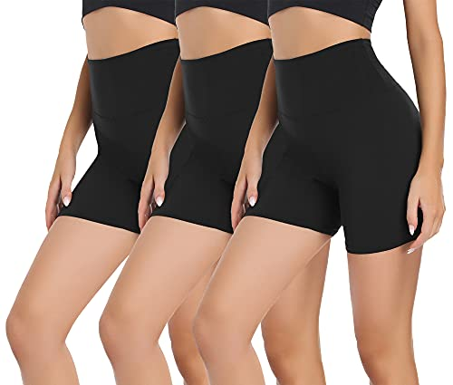 """Gayhay 3 Pack Biker Shorts for Women – 5"""" High Waisted Tummy Control Soft Workout Shorts for Yoga Athletic Running Cycling (Black/Black/Black, Large-X-Large)"""