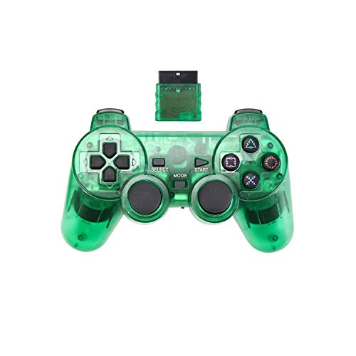 Contrôleur de jeu pour PC  Manette de jeu sans fil 2.4G pour Sony PS2 Controller Double Vibration Shock Controle pour Playstation 2 Console Joystick-vert-
