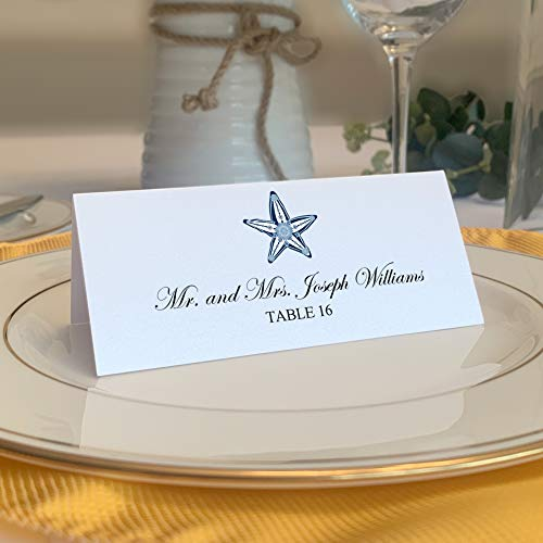 Starfish Printable Place Cards, Set of 60 (10 Sheets), Laser & Inkjet Printers - Wedding, Party, Dinner, and Special Events - Made in The USA