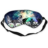 DJNGN Máscara de ojos Dj Cat con auricular Mascota Animal Dj Pug Perro Máscara para dormir Máscara ajustable para dormir Máscara para dormir Dormir Ojos Máscara Parasol Venda