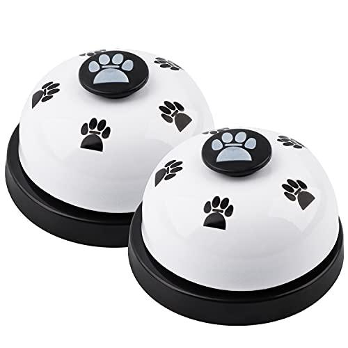 CYWVYNYT 2 Haustier-Trainingsglocken, Hundetürklingel Hundetraining Töpfchen-Katzenglocke, Töpfchen-Trainingskommunikationsgerät mit großem Knopf (weiß)