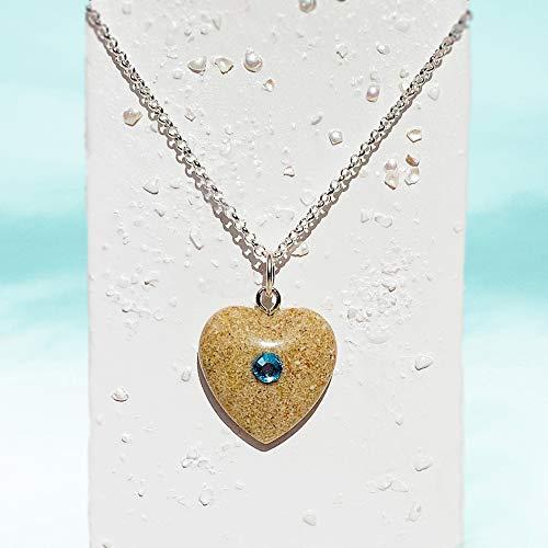 Luana - Strand Sand Herz Halskette | Herz Charm Choker | Boho | Einzigartiger Natur Schmuck für Sie | 30GU