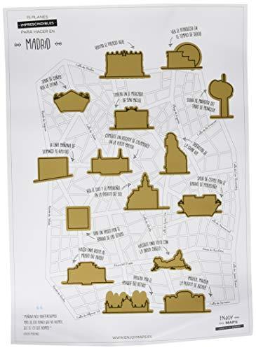 Enjoy Maps Lamina Rascable de Madrid, Papel Estucado, Multicolor, 40x8x8 cm