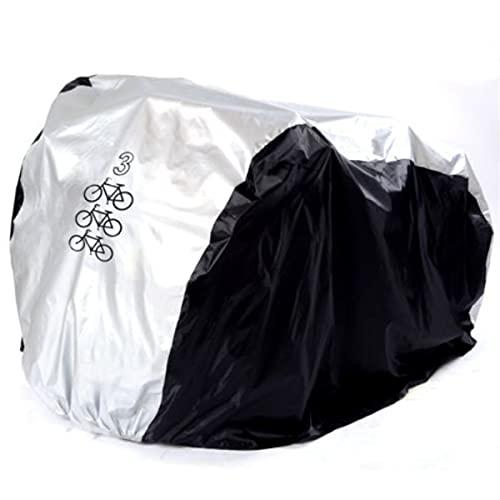 ZXLZM Cubierta Bicicleta, Funda Bicicleta, con Hebilla a Prueba de Viento, Anti Polvo Resistente al Agua a Prueba de UV, para 1, 2 o 3 Bicicletas, Negro + Plateado,L-(Three-Bikes)