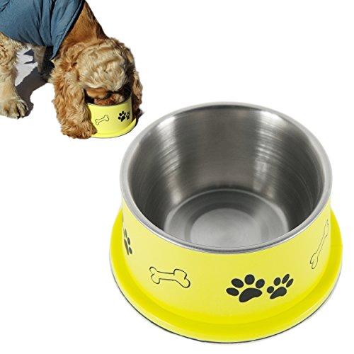 PETISH Spaniel Bowl for Long Ear Dog - Ergonomic Personalized Custom Design Bowls, NO Tip Stainless Dish (Medium (17oz - 6.3 x 5.3 x 3.0inch), Banana Yellow)
