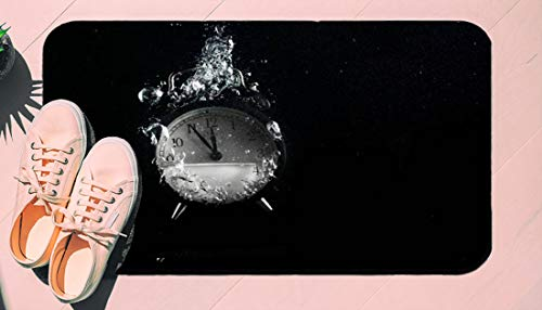 DIIRCYB Fu?Matte Indoor Outdoor rutschfeste waschbare Fu?Matte,Alarm Clock In Water,DIY Cropping Teppich,F¨¹r Hauptk¨¹Che Schlafzimmer Badezimmerboden Carpet19.5' X 30.5'