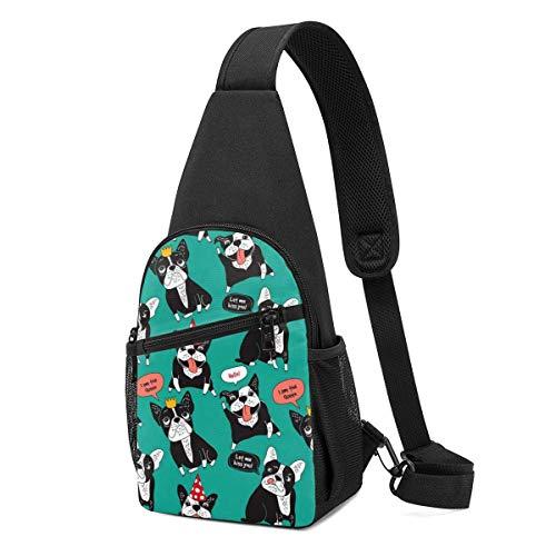 Sling Bolsas para mujer Crossbody Mochila Bulldogs Hombro Verde Daypacks Durable Viaje Resistencia a las Arrugas Fanny Pecho Paquetes