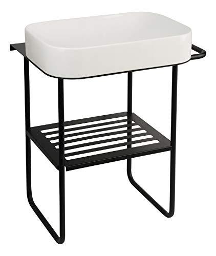 'aquaSu® Waschtisch Cuando mit Metall-Untergestell und Handtuchhalter rechts | Aufsatzwaschtisch weiß | Waschbecken 60 x 40 cm | Untergestell schwarz | Handtuchhalter: rechte Ausführung | 04579 7
