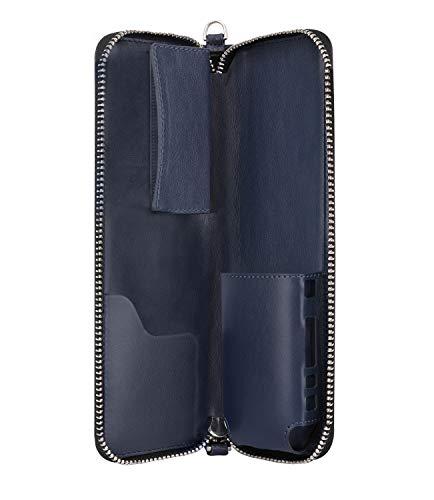 Luxspire iQOS E-cigarette Case, Zipper Portable PU Leather E-cig Carrying Case Travel Holder Organizer with Wrist Strap for iQOS Electronic Cigarette & Accessories, Indigo