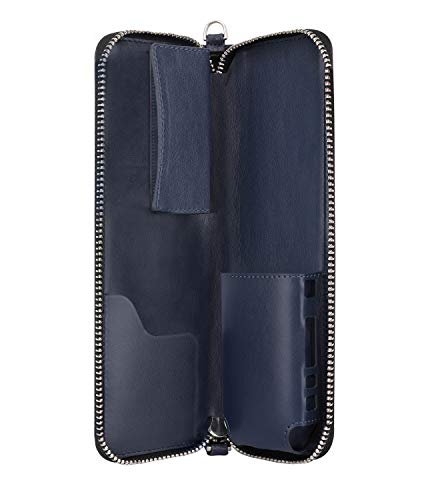 Luxspire iQOS E-cigarette Case, Zipper Portable PU Leather E-cig Carrying Case Travel Holder Organizer with Wrist Strap for iQOS Electronic Cigarette & Accessories, Indigo