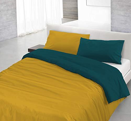 Italian Bed Linen Natural Color Parure Copri Piumino, 100% Cotone, ocra/verde petrolio, MATRIMONIALE, 3 Unità