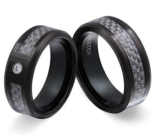 Flame Partner-Ringe 2 Trauringe Verlobungsringe Wolfram (Tungsten) 1 Zirkonia weiss -gratis Gravur W-AP-HD
