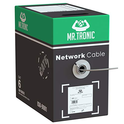 Mr. Tronic 305m Cavo di Rete Ethernet | CAT6, AWG24, CCA, UTP, RJ45 | Bobina di Rete (305 Metri, Grigio)