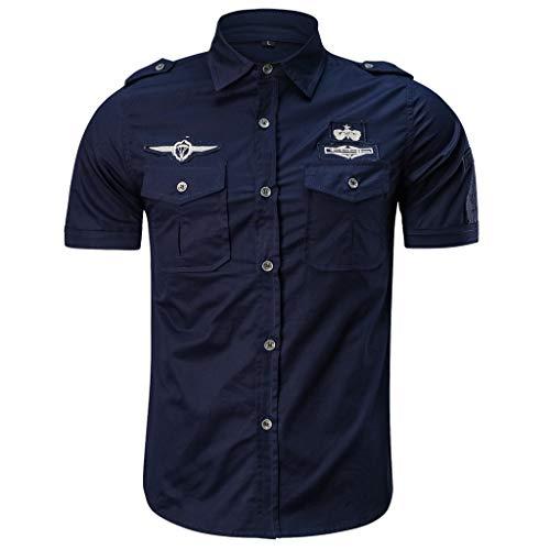 Camicia da Uomo Maniche Corte Slim Fit Estiva Stile Polo Magliette Larghe Manica Corta Modo Casuale (XXL,10- Blu Scuro)