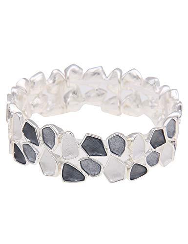 Leslii Damen-Armband weißer Armreif breites Statement-Armband graues Modeschmuck-Armband Armschmuck in Grau Weiß Matt