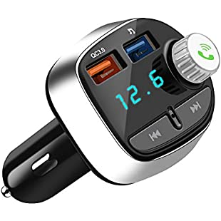 Nutmix Bluetooth FM Transmitter,Wireless In-Car FM Transmitter Radio Adapter Car Kit,Universal Car Charger with Dual USB Charging Ports,In-Car MP3 Player ,With Hands-free Calling,TF Card Slot ,USB Flash Drive Port For iPhone X/8/7 Plus/7/6/5S, Samsung, etc:Tudosobrediabetes