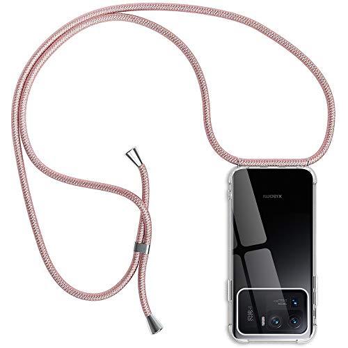 Funda con Cuerda Compatible con Xiaomi Mi 11 Ultra, Transparente Silicona Carcasa con Colgante Compatible con Mi 11 Ultra, Rosyheart Suave TPU Gel Slim Case con Ajustable Correa Collar Case - Oro Rosa