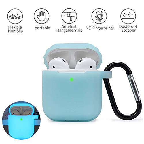 Airpods Case, BestRec AirPods Shockproof Case with Keychain/Dust Guard 2 & 1 Portable & Protective Silicone Skin Cover Case for Apple Airpods Charging Case [Front LED Visible][Night Glow] - Blue