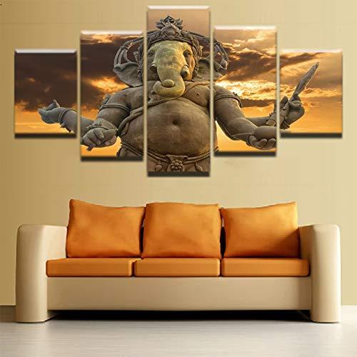 Leinwandbild Wandkunst Bild für Heimdekoration. Modulares Leinwandbild für Wohnzimmer Heimdekoration. HD 5 Panel Bilder. Gestreckte und gerahmte Kunstwerke. Öldekoration Landschaftsfotodruck. 30x4