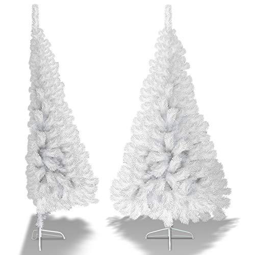 Strong Camel Unlit Half-Shape Christmas Tree Artificial Corner Xmas Tree w/Steel Base (6FT)