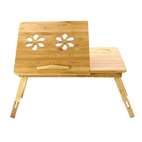 MorNon Escritorio De Bambú para Portátil Ajustable Mesa De Ordenador Portátil Soporte para Portátil Escritorio De Sofá Portátil Plegable Portátil