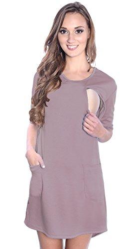 Mija - 3 in1 Sommerkleid/Umstandskleid/Stillkleid Schwangerschaftskleid 4038 (EU36 / S, Beige)