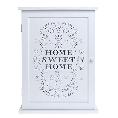 """Charming House Design - Armadietto portachiavi in legno, stile shabby chic, da parete, con ganci, colore bianco, con scritta """"Home Sweet Home"""""""