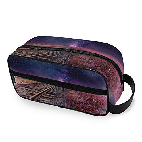 Sac de maquillage Train Track Starry Night Tools Cosmetic Train Case Trousse de toilette Travel Storage Portable Organizer