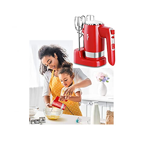 300W Electric Hand Mixer with 4 Metal Accessories,5-Speed Powerful Turbo function Handheld Mixer with Eject Function,Storage Base for Whipping Mixing Cookies,Brownies,Dough Batters