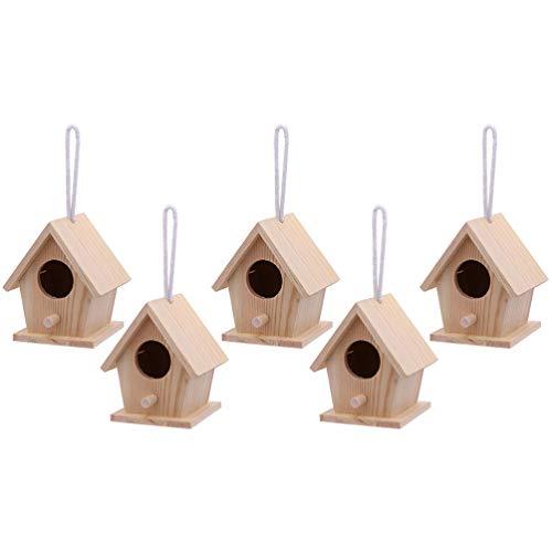 Garneck 5 Piezas Mini Casitas para Pájaros sin Pintar Casita para Pájaros de Madera sin Terminar con Cordón para Colgar DIY Mini Pájaro Nido Casa de Madera para Que Los Niños Construyan