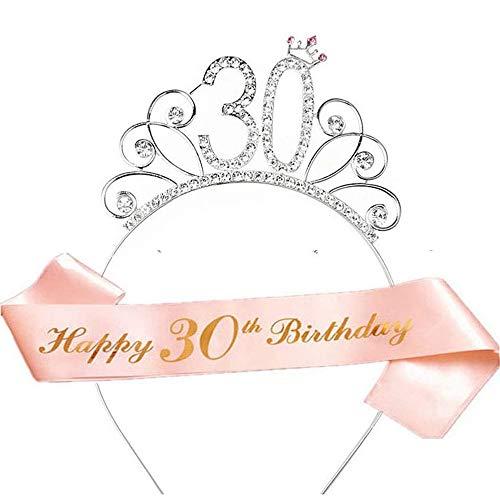 Rose Gold Happy 30. Geburtstag Schärpe und 30 Geburtstag Tiara Strass Krone Stirnband für 30 Geburtstagsgeschenk Partyzubehör 30. Geburtstag Dekoration Mädchen Frauen