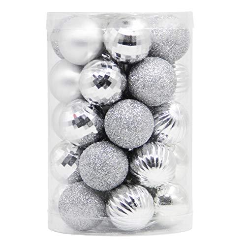 Lulu Home Christmas Ball Ornaments, 34 Ct Xmas Tree Decorations, Holiday Hanging Balls (Silver, 1.57')