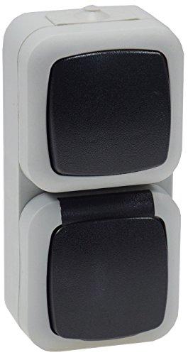 Combinatie voor vochtige ruimtes, schakelaar/stopcontact, verticaal opbouw, 250 V/10 A/16 A, IP44, spatwaterdicht, grijs
