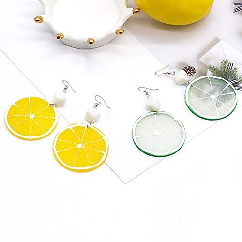 ZhenS Bonitos Pendientes de Estilo Dulce con Rebanada de limón de simulación para Mujer, joyería de Moda Creativa, 2 Piezas, Amarillo, Verde, Juego / 4 Piezas
