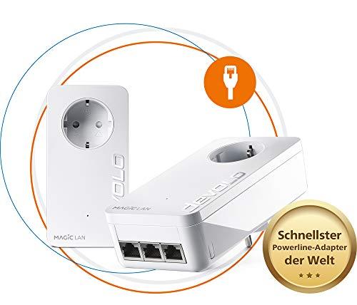devolo Magic 2 - 2400 LAN triple Starter Kit dLAN 2.0: Ideal für Home Office und Streaming, Powerline-Starter Set für stabiles Heimnetzwerk via Stromleitung durch Wände und Decken