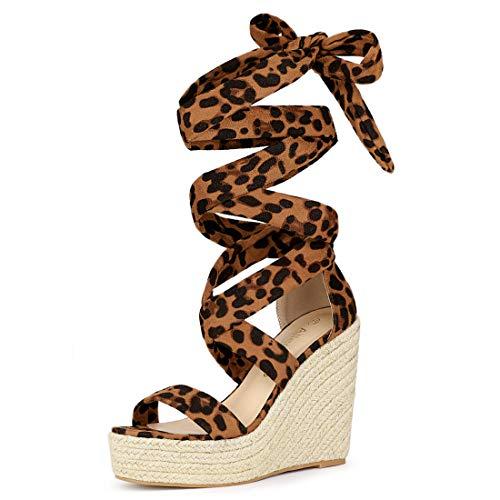 Allegra K Sandalias Tacones De Cuña con Cordones Plataforma De Alpargata para Mujer Leopardo 39