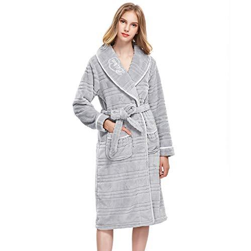 Badjas Koraal fluwelen badjas vrouwelijke Grijze nachthemd herfst en winter nachtkleding grote maat losse homedressing (Kleur : GRIJS, Maat : XL)