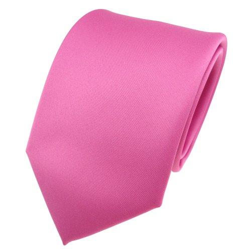 TigerTie Designer Satin Krawatte in rosa pink uni 100% Polyester - Tie Schlips