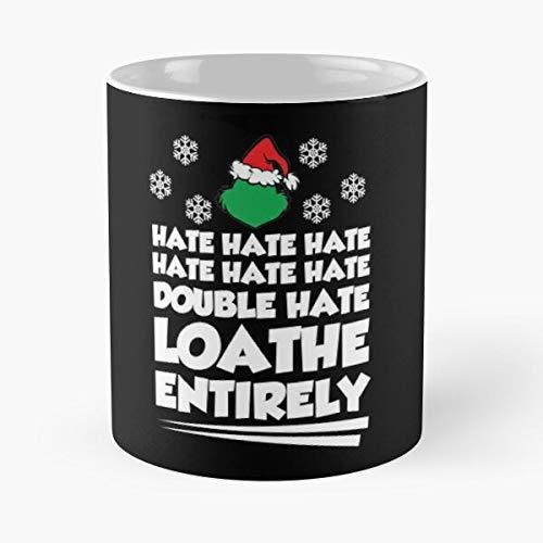 Grouchy Holidays Christmas Grinch Hate Funny Holiday Anti Humor Best Taza de café de cerámica de 315 ml con texto en inglés 'Eat Food Bite John Best Taza de café de cerámica de 325 ml