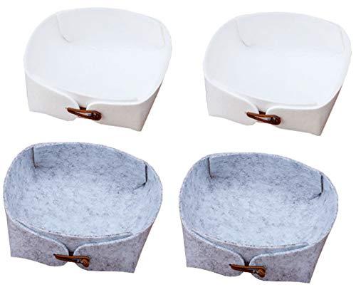 Kitchen-dream 4 szt. filcowy kosz pudełka do przechowywania składane kosze do przechowywania organizer pojemnik do przechowywania makijażu, szafy, łazienki, sypialni - biały, szary
